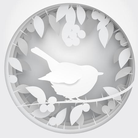 redbreast: Paper box of shadow to bird on Blackthorn tree branch, vector illustration. Illustration