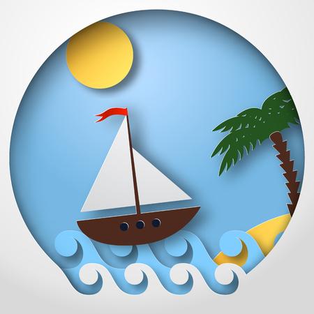 Paper art sailing boat float on the tropical sea. Vector illustration Illustration