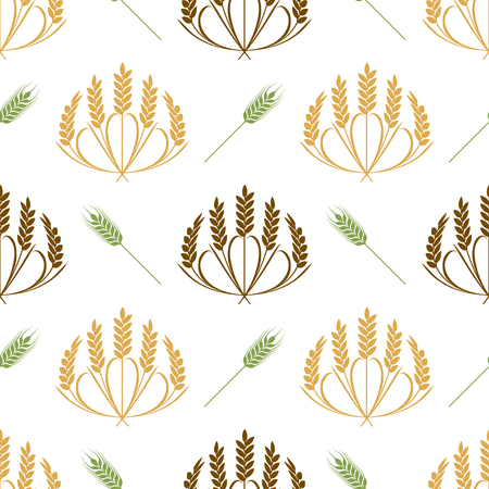 Ears of wheat and grains seamless pattern illustration