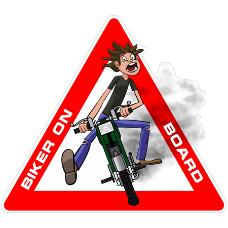 motobike: Young biker scary quickly rides on a motobike. Biker on board sticker. Vector illustration