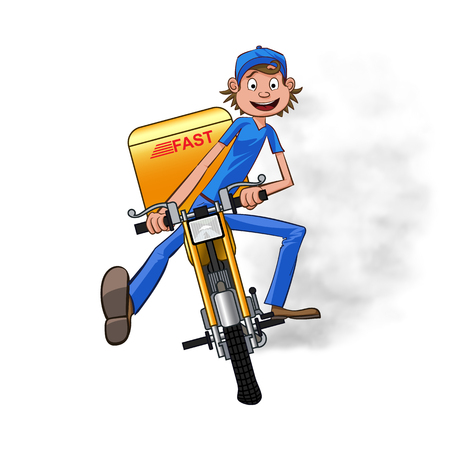 Young man working the fast delivery. Riding on yellow motorbike for carries rush order. Fast delivery concept. Front view cartoon style. Vector illustration Illustration