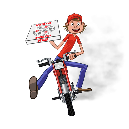 Boy working the pizza delivery. Riding on red motorbike for carries rush order.