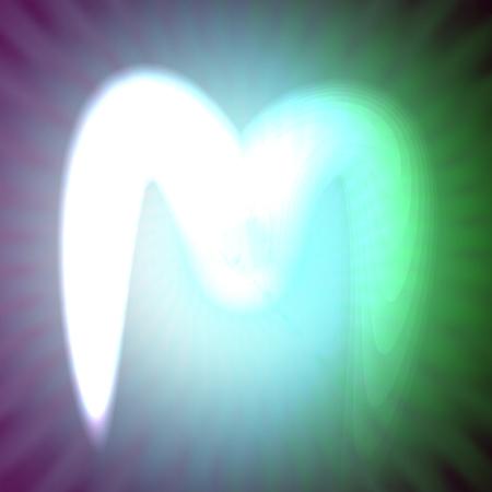 single light blue neon letter m. vector illustration