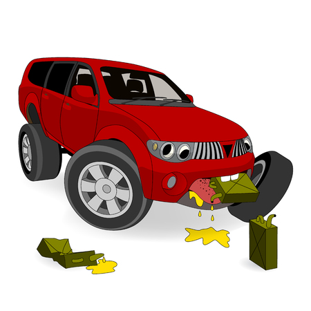 gas can: Absolutely no the fuel economy. Big cartoon gas guzzler SUV eats gasoline. Vector illustration Illustration