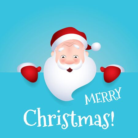 Vector illustration of Santa Claus cartoon character emotion cheerful wishes Merry Christmas.