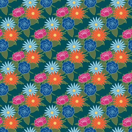 Floral seamless pattern background trend 2018 colors. Vector illustration