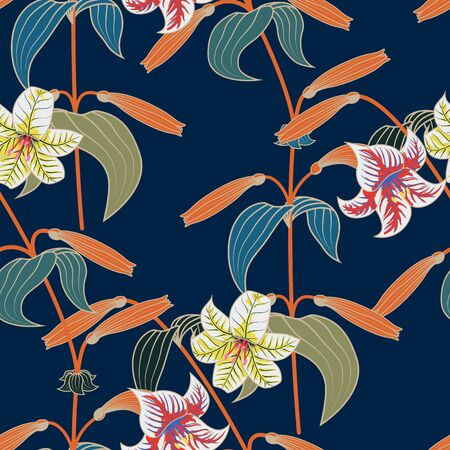 Lily seamless pattern with trendy colors.