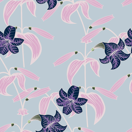 Lily seamless pattern with trendy colors
