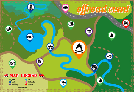 Illustration of off road event and camping map icons