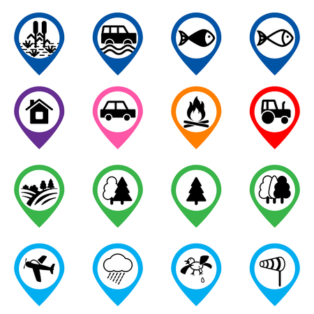 Offroad event and camping icons set. Vector illustration.
