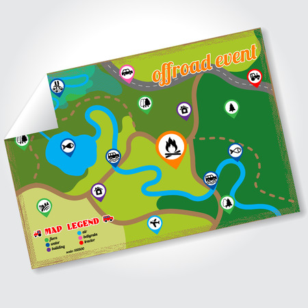 Offroad event and camping map icons set. Vector illustration. 스톡 콘텐츠