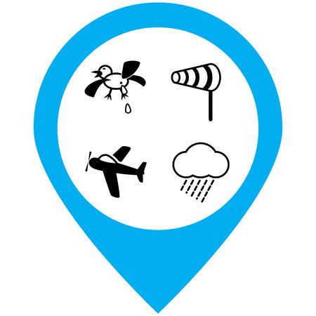 Air dangers icons set.