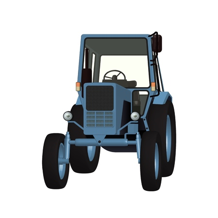 Agricultural tractor 3D vector graphic for tillage, cultivation and harvesting illustration design