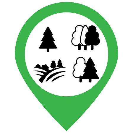 Flora forest icons set. Vector illustration.