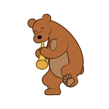 Bear is playing a musical instrument pipe vector illustration