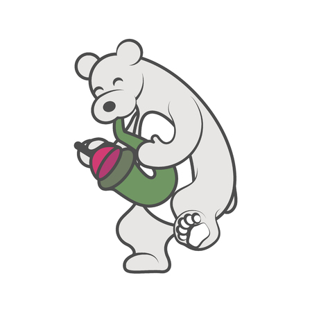 White bear is playing a musical instrument saxophone with mute vector illustration