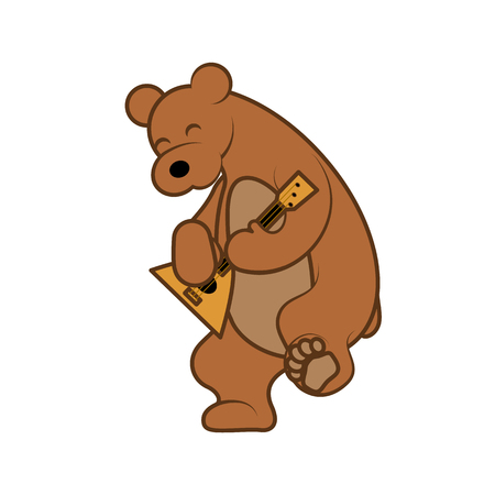 Bear is playing a musical instrument balalaika vector illustration from Russia with love.