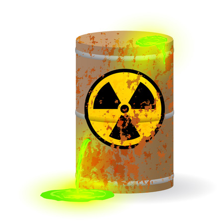 Chemical radioactive waste in a rusty barrel. Toxic green fluorescent liquid in a keg. Environmental pollution danger of ecological disaster. Vector illustration. Vetores