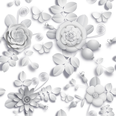 Paper craft 3D wild rose flowers, rosehip berries and butterfly seamless pattern. Vector illustration stock image Illustration