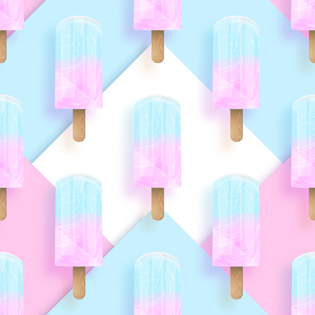 Ice cream popsicles pastel colors seamless pattern. Vector stock illustration