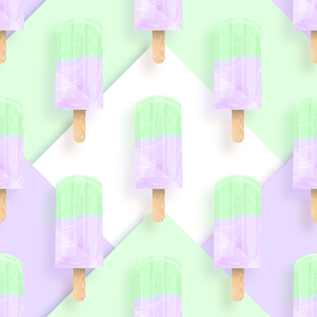 Ice cream popsicles pastel colors seamless pattern. Vector stock illustration Archivio Fotografico - 103117022