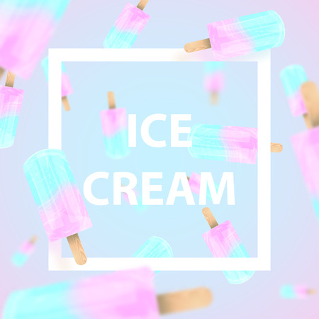 Falling ice cream popsicles blue and pink pastel colors background. Text Ice Cream in frame. Vector stock illustration
