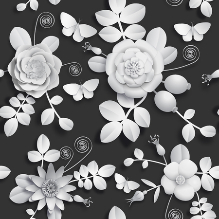 Paper craft 3D wild rose flowers, rosehip berries and butterfly seamless pattern. Vector illustration stock image  イラスト・ベクター素材