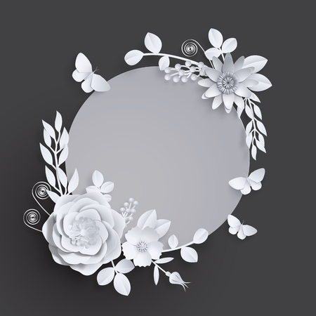 Banner template for advertising, invitation or poster sale with paper art flowers background. Vector stock illustration