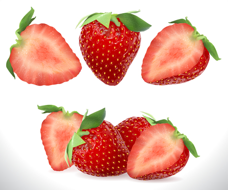 Strawberry Realistic Sweet Berry 3D fruit icons set. Realistic stock illustration