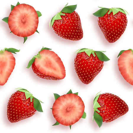 Strawberry seamless pattern slices and whole berries, top view on white background.