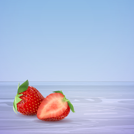 Strawberries half and whole on a blue wooden table. Vector stock illustration