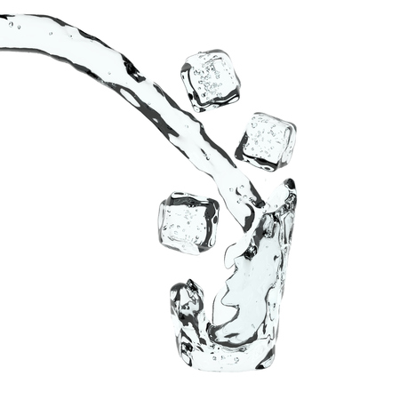 Splash liquid in virtual glass of water and falling ice cubes. Abstract 3D illustartion on white background