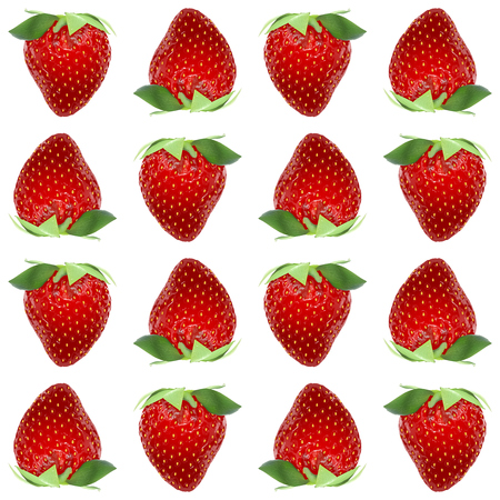 Strawberry vector seamless pattern whole berries, top view on white background. Stock illustration