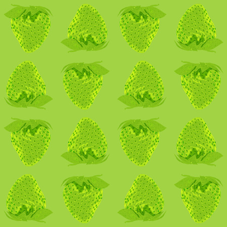 Strawberry vector seamless pattern whole berries, top view green tone background. Stock illustration  イラスト・ベクター素材