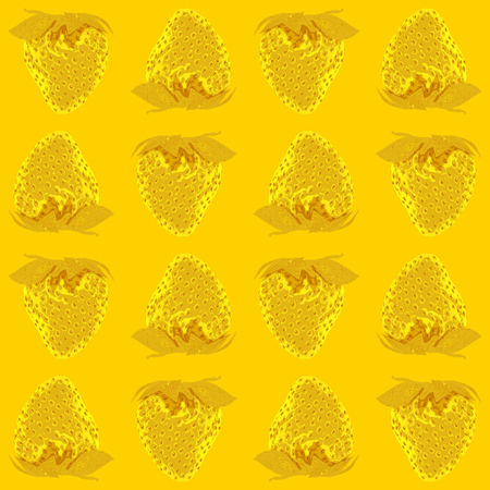 Strawberry vector seamless pattern whole berries, top view yellow tone background. Stock illustration