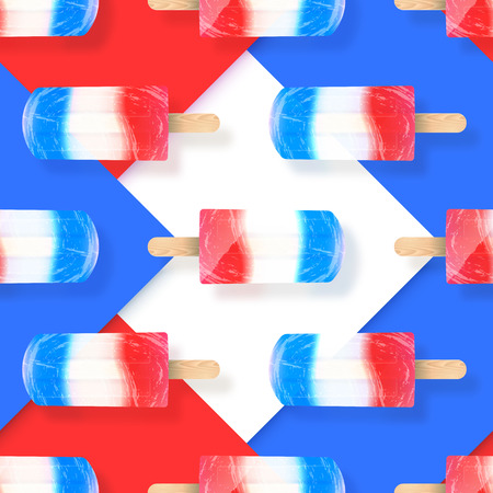 Ice cream popsicles red, white and blue colors seamless vector pattern. Stock illustration