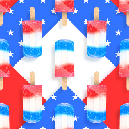 Ice cream popsicles american flag colors seamless vector pattern. Stock illustration  イラスト・ベクター素材