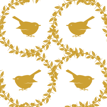Sloe and birds, a set of three golden seamless patterns and border. Auxiliary elements with spines blackthorn and abstract birds. Vector stock illustration.