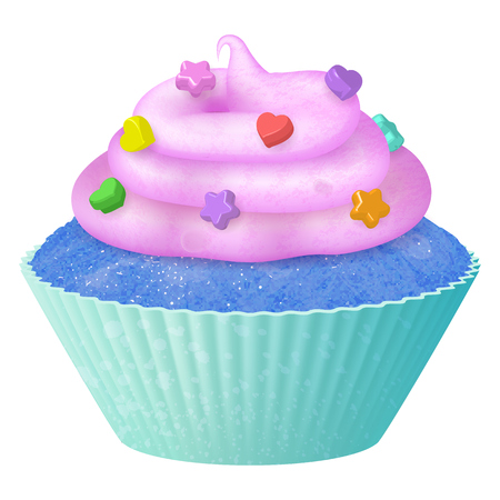 Vector realistic cupcake, muffins with cream. 3d icon stock illustartion Archivio Fotografico - 107650285