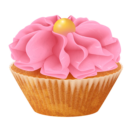 Vector realistic cupcake, muffins with cream. 3d icon stock illustartion