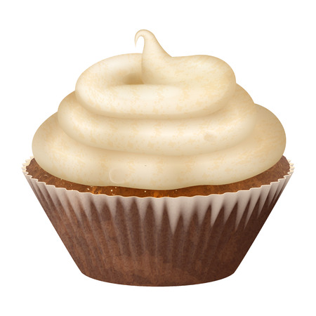 Realistic cupcake, muffins with cream. 3d vector icon stock illustartion