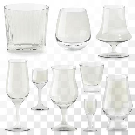 Conjunto de vasos de whisky transparente realista vector. Ilustración de iconos de vidrio de bebida de alcohol Ilustración de vector