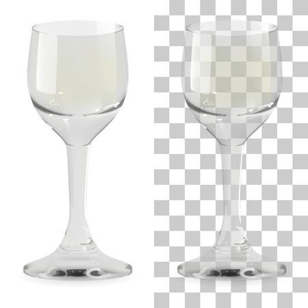 Vaso de chupito de whisky transparente y aislado realista. Ilustración de icono de vector de vidrio de bebida de alcohol