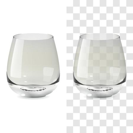 Vector realista vaso de whisky transparente y aislado. Ilustración de icono de vidrio de bebida de alcohol Ilustración de vector