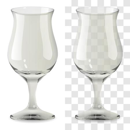 Vaso de tulipán whisky transparente y aislado realista de vector. Ilustración de icono de vidrio de bebida de alcohol
