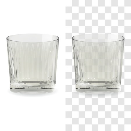 Copa de whisky transparente y aislado realista de vector. Ilustración de icono de vidrio de bebida de alcohol