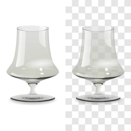Vector realista vaso de whisky transparente y aislado. Ilustración de icono de vidrio de bebida de alcohol