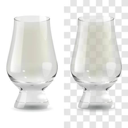 Vector realista transparente y aislado whisky glencairn glass. Ilustración de icono de vidrio de bebida de alcohol Ilustración de vector