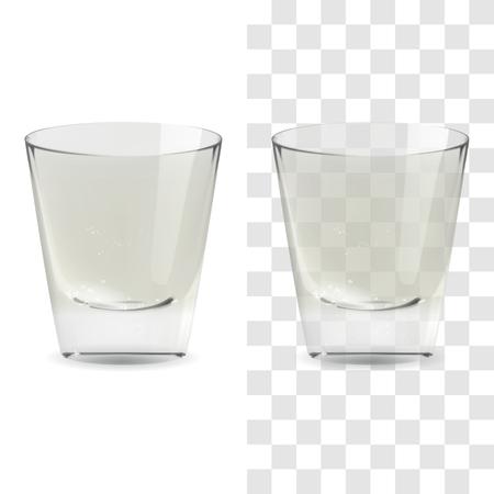 Vaso de chupito de whisky transparente y aislado realista de vector. Ilustración de icono de vidrio de bebida de alcohol