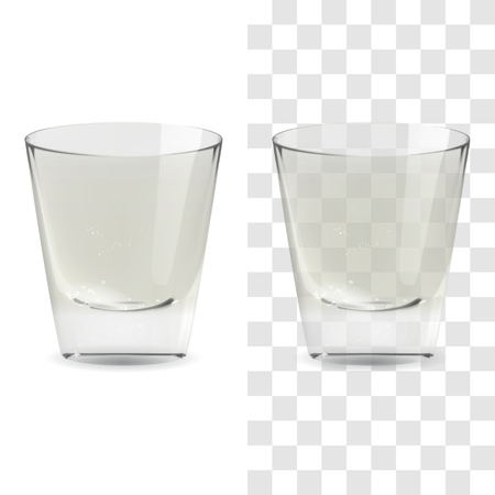 Vector realistic transparent and isolated whiskey shot glass. Alcohol drink glass icon illustration Archivio Fotografico - 117746215